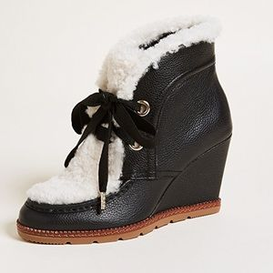 Kate Spade Sandy Fur Black Leather Wedge Boots 7